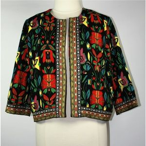 Colorful Floral Tribal Print Jacket Embroidered